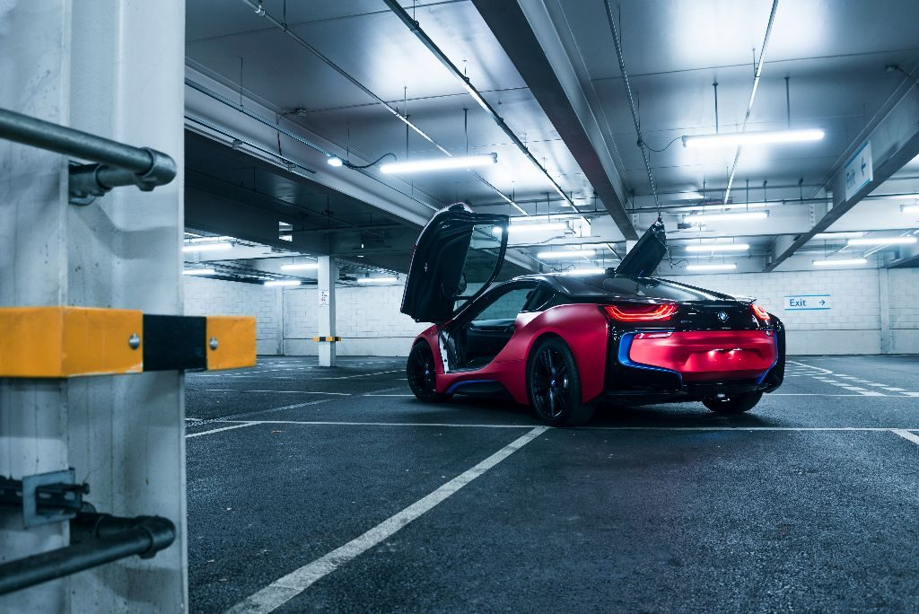 Bmw I8 Wrapped Satin Red Chrome V Styling